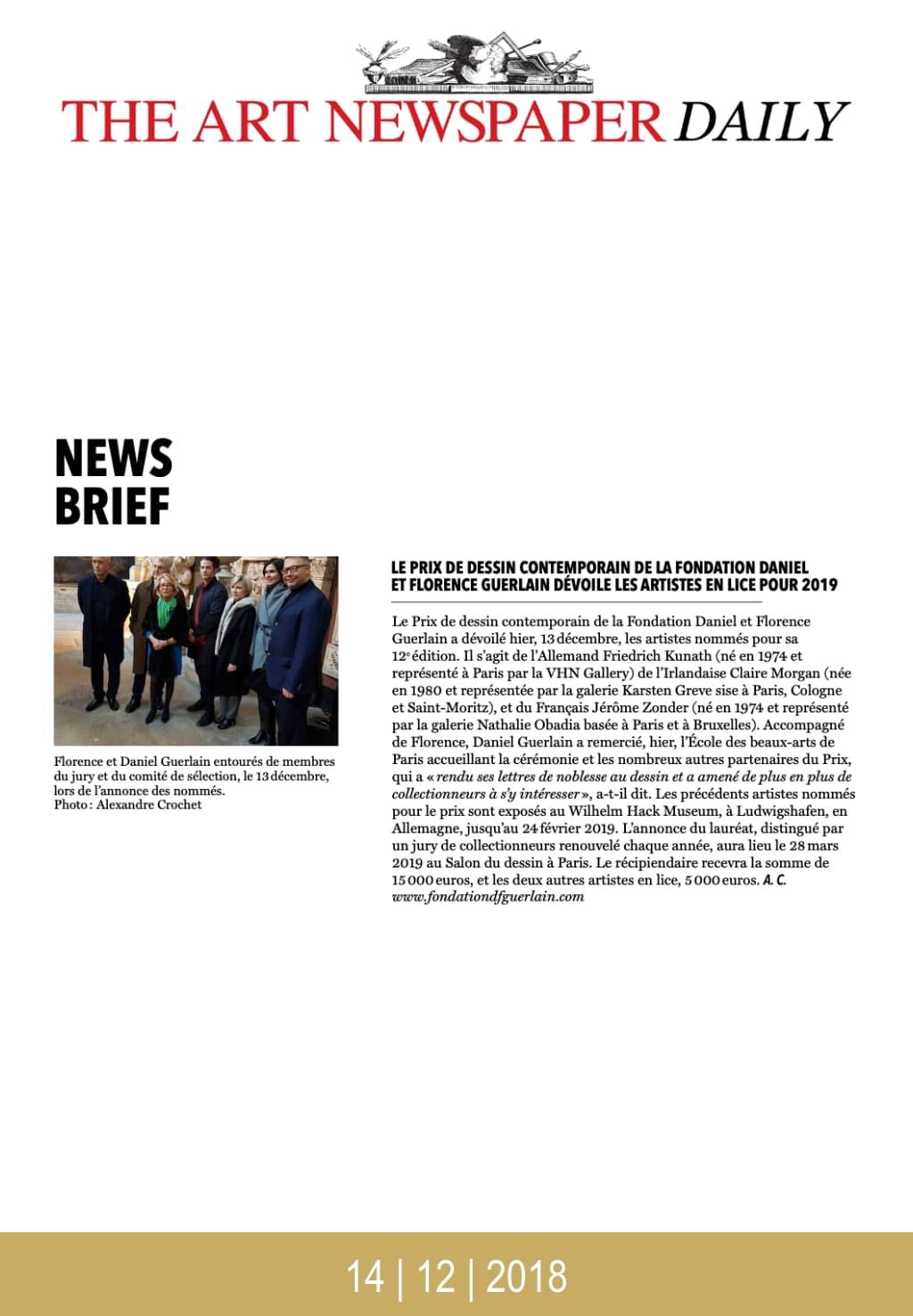 Article de presse du Salon du Dessin 2019 : The Art Newspaper Daily