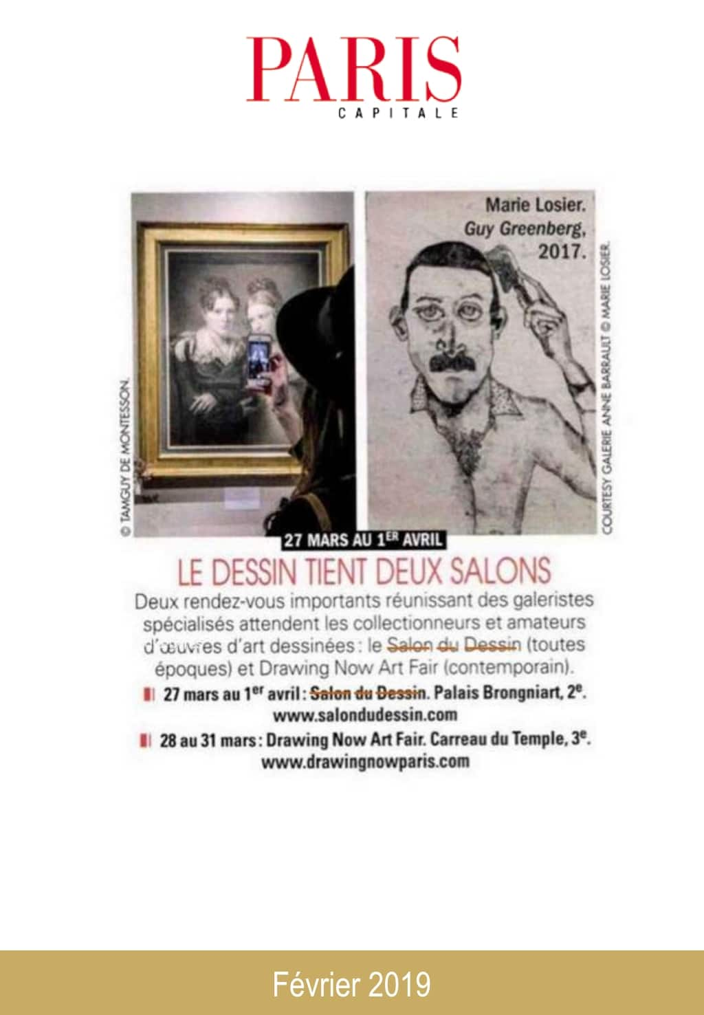Article de presse du Salon du Dessin 2019 : Paris Capitale