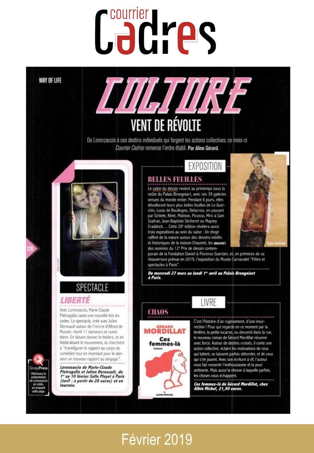Article de presse du Salon du Dessin 2019 : Courrier Cadres